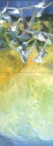 "Flight Toward Dunes, 1996, 80""x30"", oil and acrylic on canvas"