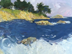 "Coast, 2003, 36""x48"" (2 panels), acrylic and oil on canvas"