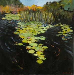 "Lilypad Path, 2006, 36""x36"", Oil on canvas"